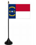 North Carolina Desk / Table Flag with plastic stand and base.